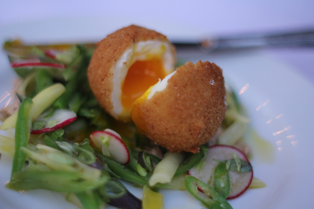 A three bean salad with a fried egg from the chickens on the farm. Photo: Angela Johnston