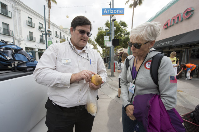 Ed Williams, who supervises inspection of certified farmers markets for the Los Angeles County Agricultural Commissioner's office, shows Laura Avery, the Santa Monica markets supervisor, a mango sold at the market which has dead white scale, an insect not present in California, and therefore evidence that the fruit was imported; at the Santa Monica Saturday Downtown farmers market. Avery had contacted agricultural authorities because she suspected that a vendor in her certified section had not produced the mangoes he was selling. 11/16/13 Photo: David Karp.