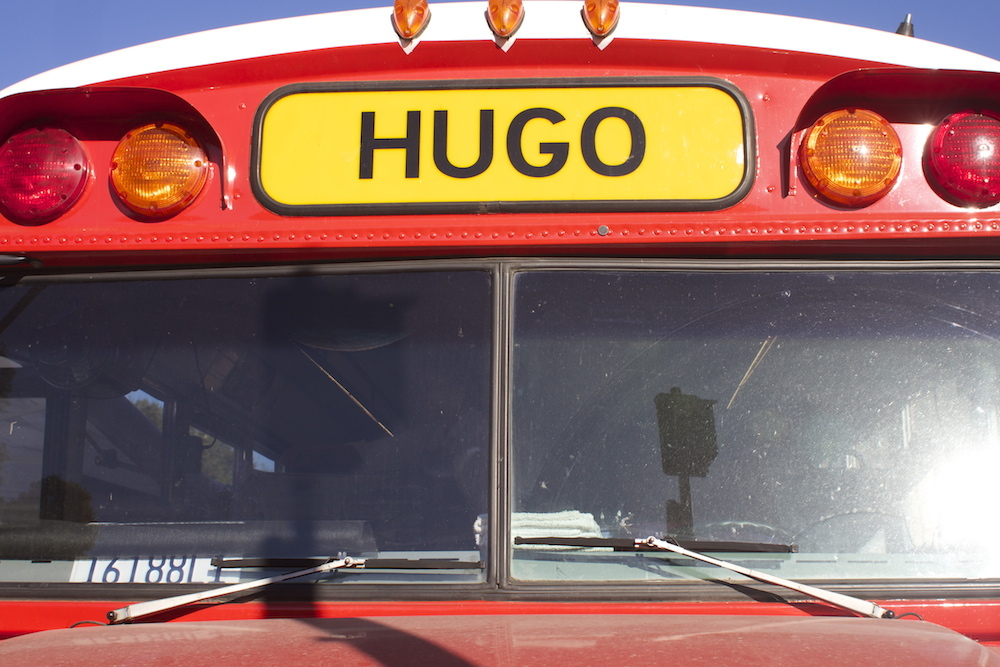 Hugo the bus is an old school bus the Metes and Bounds team converted into a professional kitchen. They named it after chef Hugo Matheson, a friend and mentor of Heath Thomson's. Photo: Angela Johnston