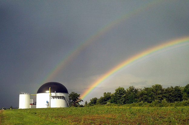 There may not be a pot of gold at the end of these rainbows, but there is an anaerobic digestion facility turning food waste into energ at Jordan Dairy Farm in Rutland, Mass. Photo: Randy Jordan/Massachusetts Clean Energy Center/Flickr