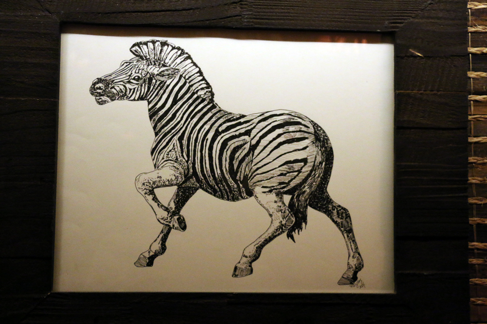 Mary Long's Zebra line drawing at Longitude. Photo: Kim Westerman
