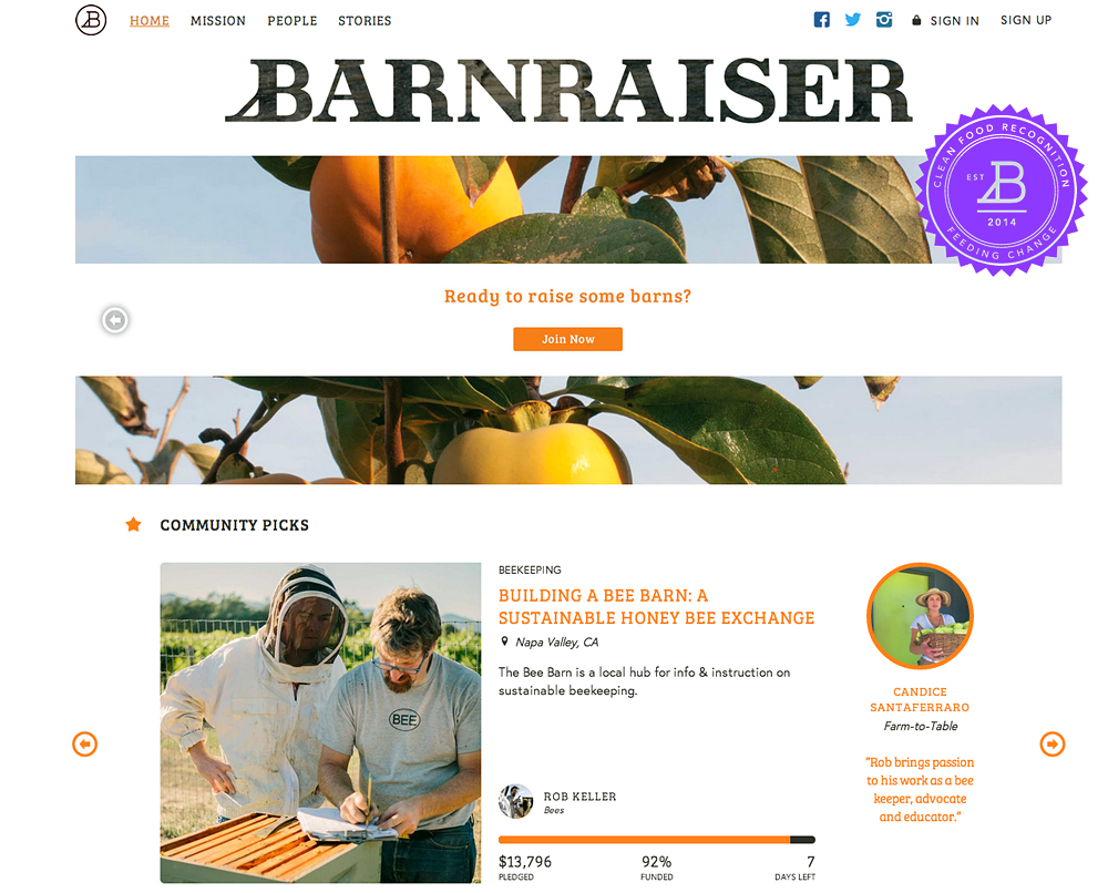 Barnraiser is a new crowdsourcing platform for sustainable food.