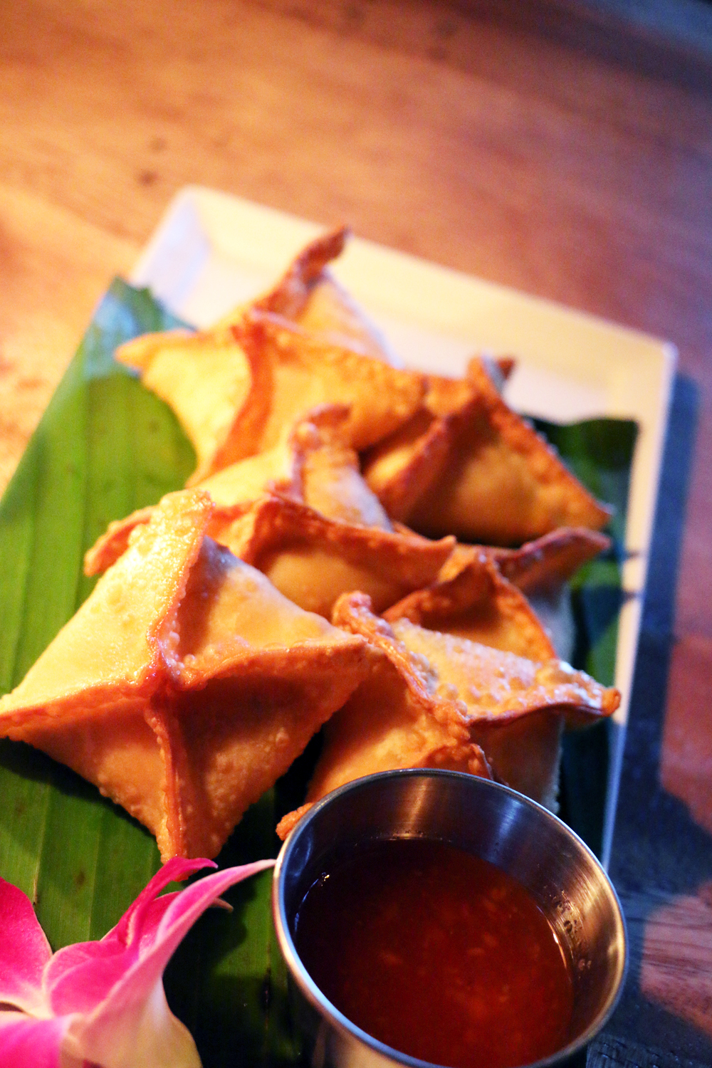 Crab rangoons with sweet chilli dipping sauce. Photo: Kim Westerman