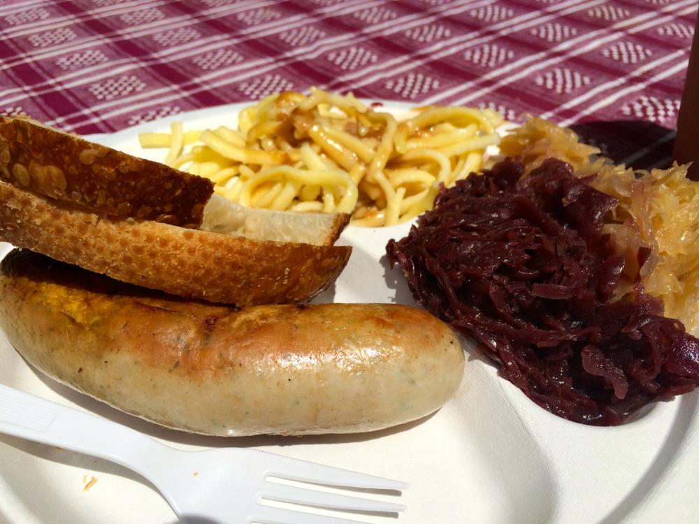 Bratwurst, Sauerkraut and Spätzle