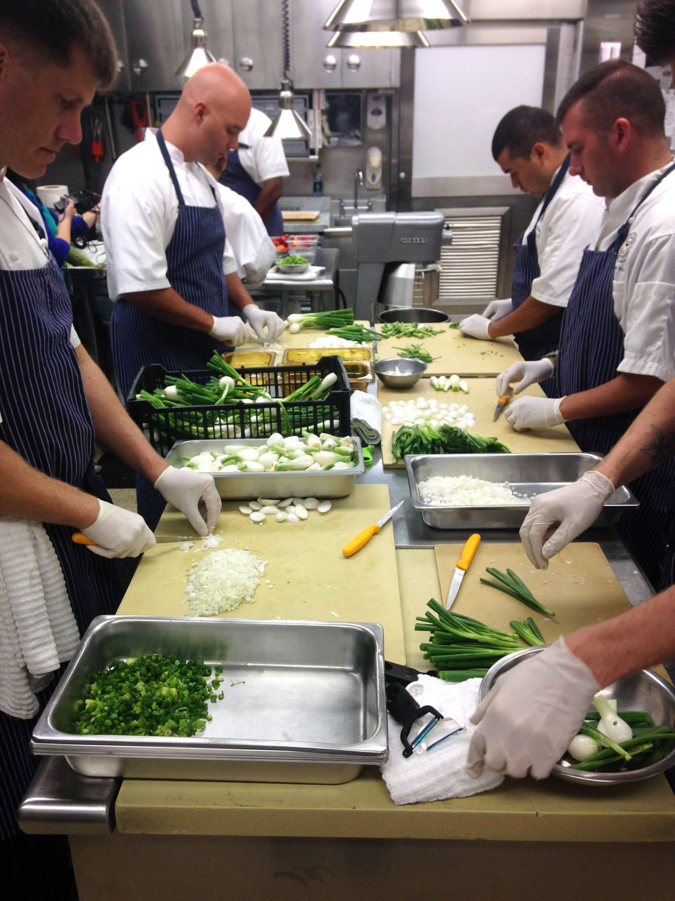 White House chefs chop a lot of vegetables to prepare for a dinner of 400 Tuesday night. Photo: Gregory Barber/NPR