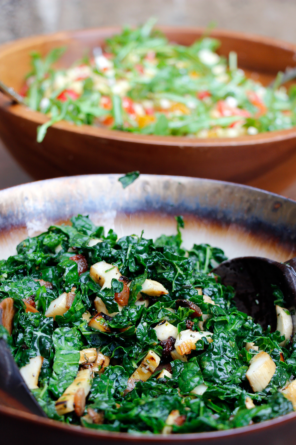 Grilled King Trumpet Mushroom, Kale, and Bacon Salad with Lemon-Herb Vinaigrette. Photo: Wendy Goodfriend