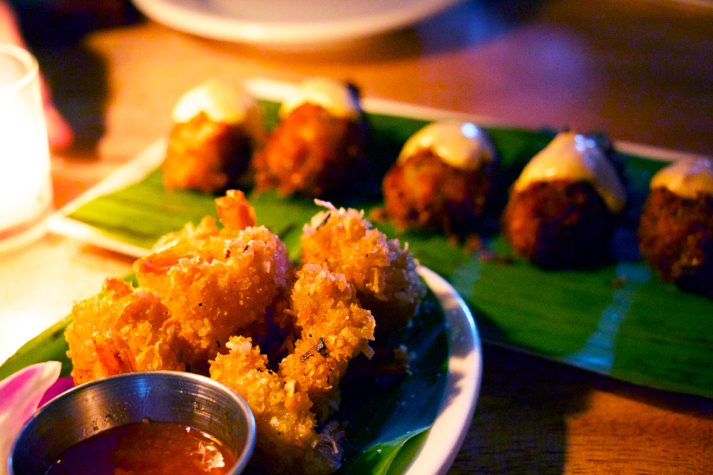 Coconut shrimp and salt-cod fritters. Photo: Kim Westerman