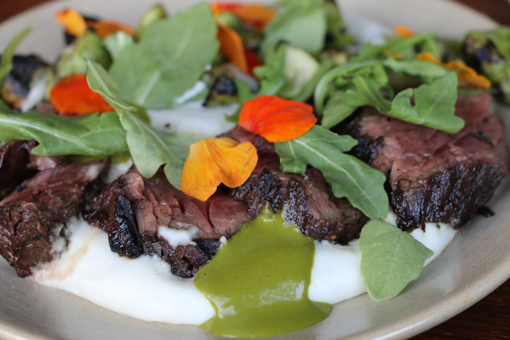 Seared hanger steak with potato purée, summer squash, and arugula. Photo: Kim Westerman