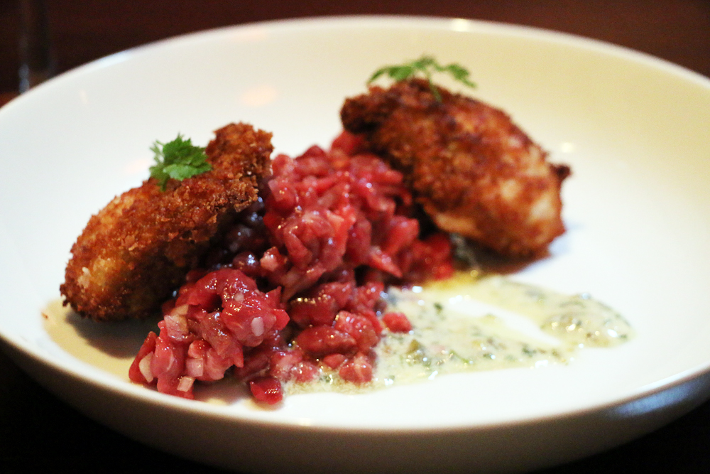 Steak tartare, fried oysters, and remoulade.
