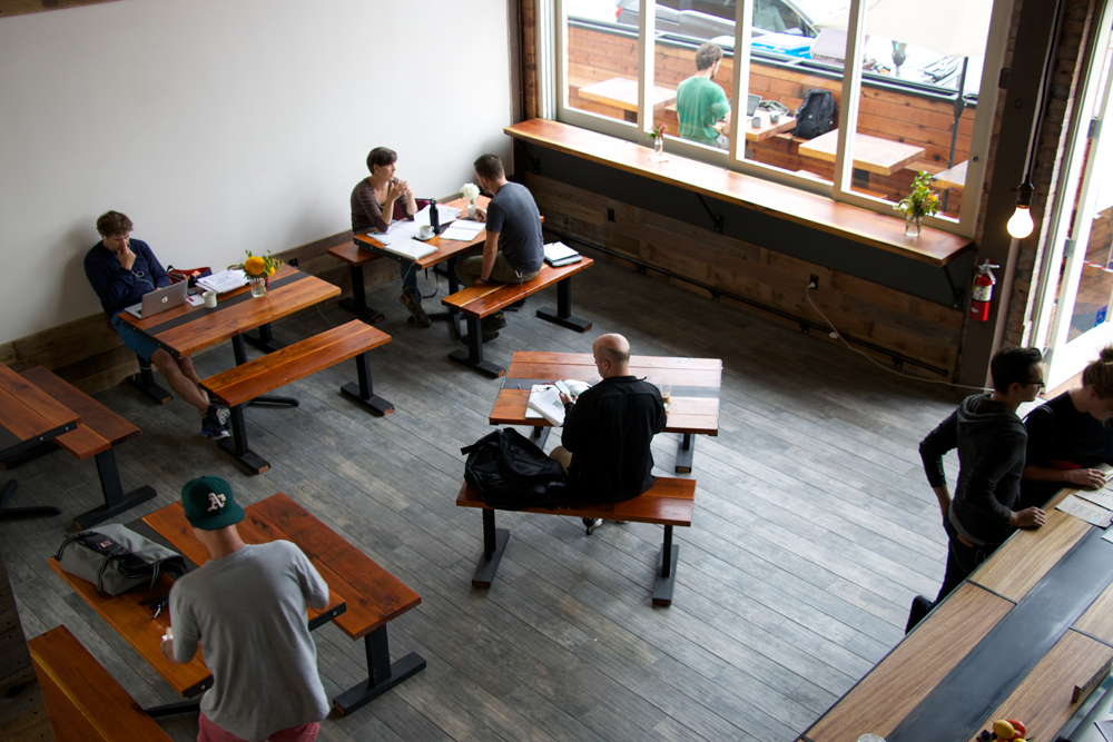 View of the main café space from the upstairs loft. Photo: Kim Westerman