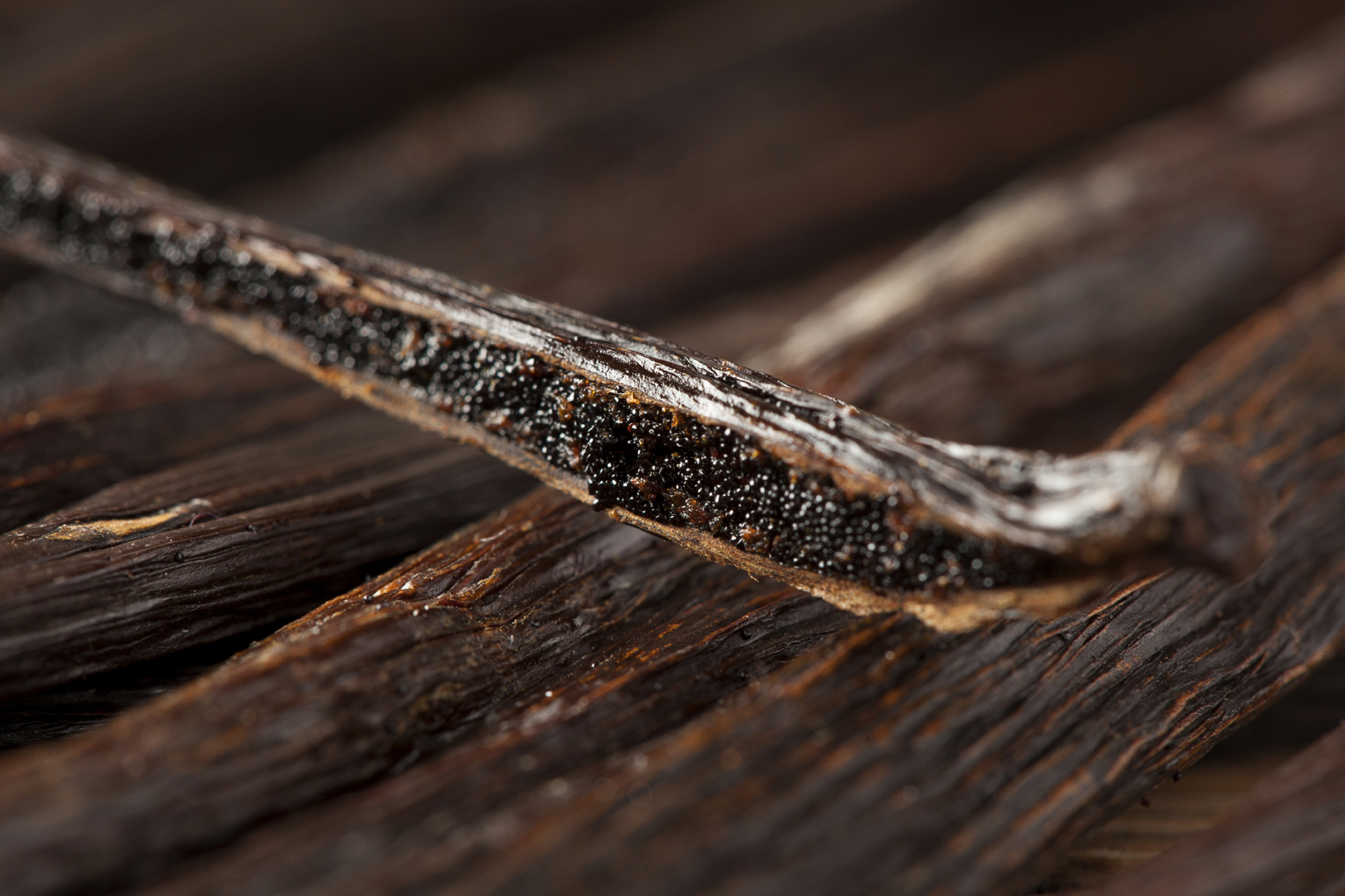 The vanilla bean, along with cacao, originated in the Americas and is now cultivated in several countries around the world. Here, the seeds inside the pod are shown. Photo: Brent Hofacker/iStockphoto