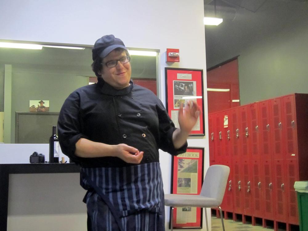 Chef Isaac Bernstein explains a dish on his tasting menu at the Haimish Wandering Kitchen kosher pop-up recently. Photo: Alix Wall