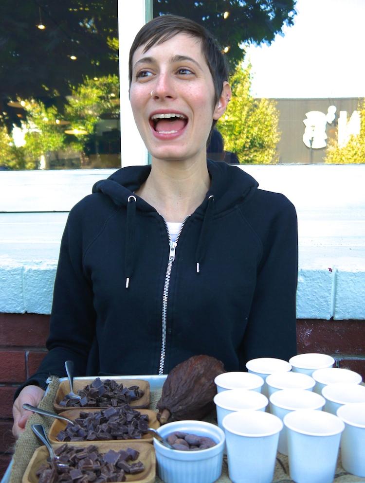 Becky Wurang describes Dandelion's bean to bar chocolate. photo: Lila Volkas.