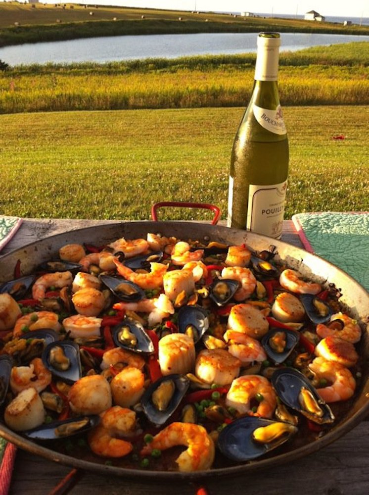 Paella is a traditional rice dish made with seafood and saffron. Photo: Angela Johnston