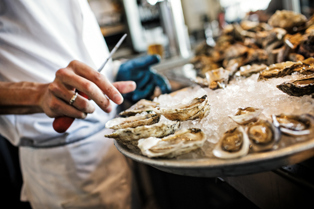 Shucking oysters at Hog Island Oyster Bar in SF. Photo courtesy of Hog Island Oyster Co.