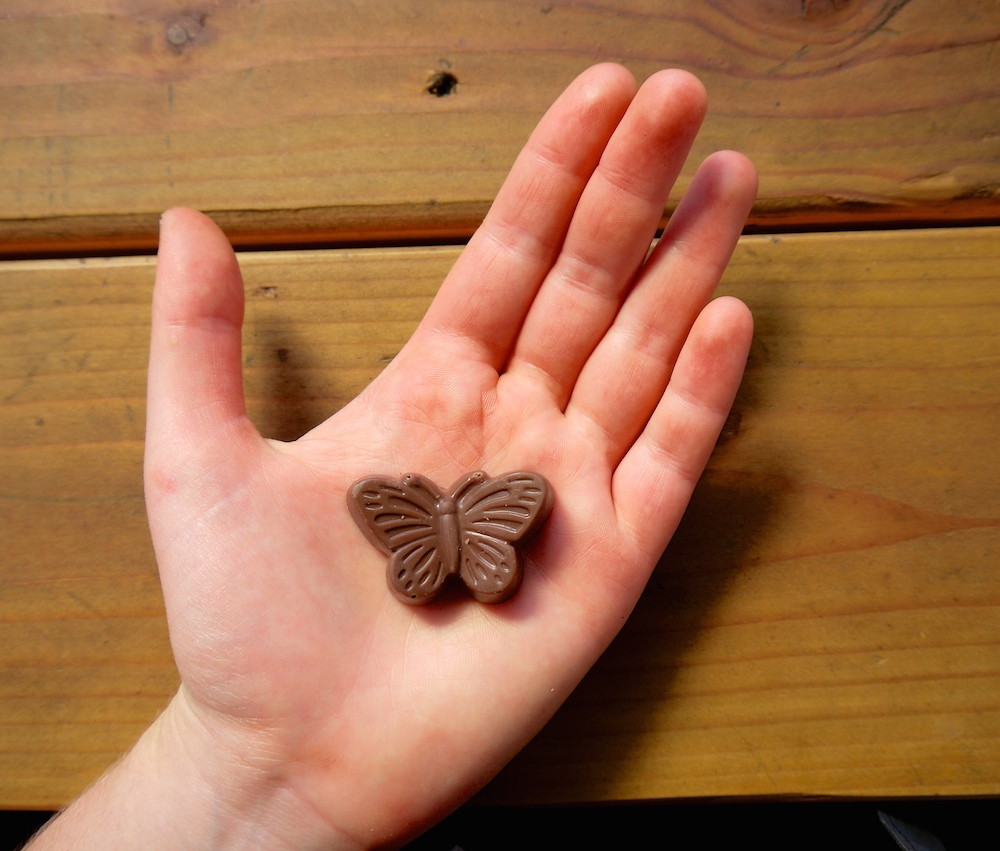 Charles Chocolates' peanut butter ganache butterfly. photo: Lila Volkas.