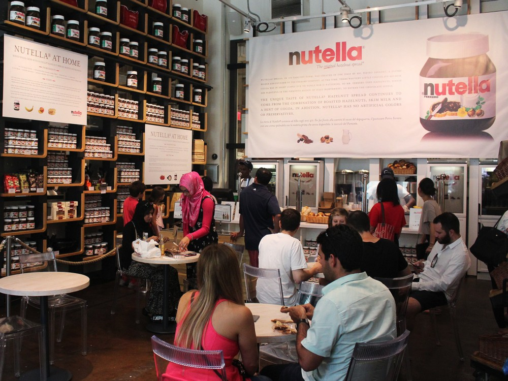 Right off Fifth Avenue, in Midtown Manhattan, Eataly has set up a shrine to Nutella. Photo: Dan Charles/NPR