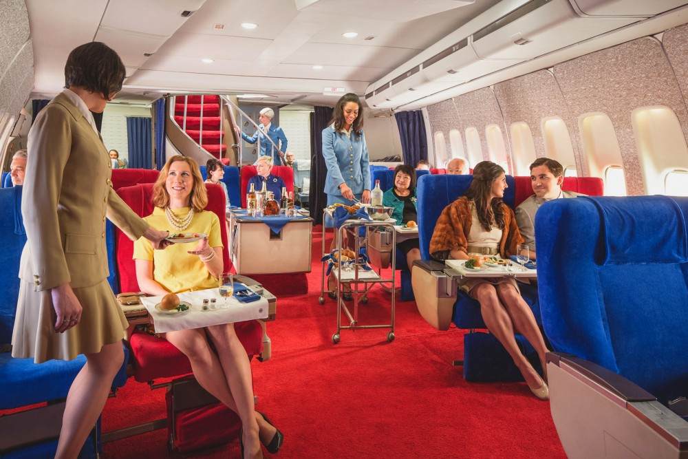 Break out the polyester: For a price, you can go back in time on an L.A. sound set and enjoy a meal in the style of an international Pan Am flight in the 1970s, complete with linens and china. Photo: Courtesy of Michael Kelley/Air Hollywood