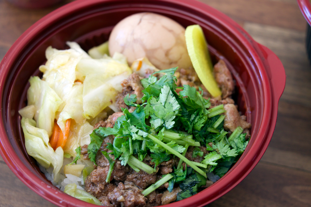 Braised pork bento bowl. Photo: Kim Westerman