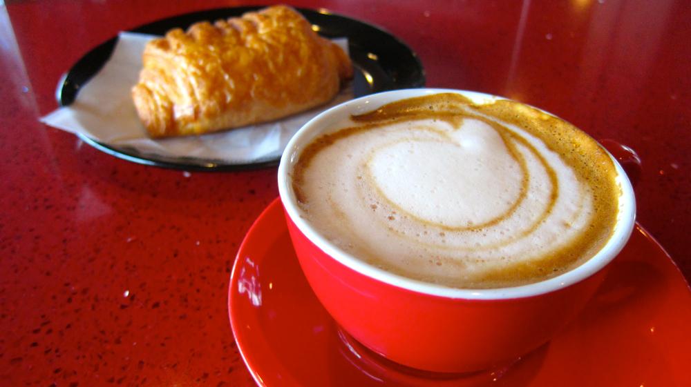 Oat Milk Cappuccino & Ham & Cheese Croissant