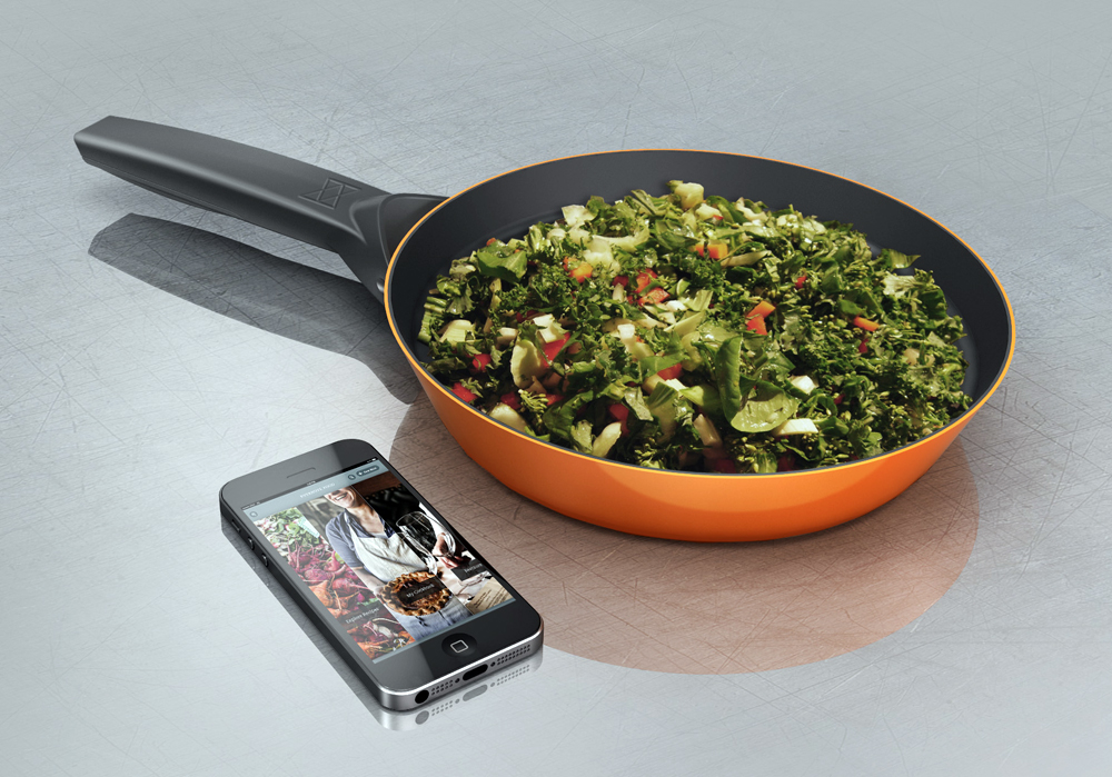 The world's first smart pan, as visualized by its inventor, Rahul Baxi. Photo courtesy of SmartyPans.
