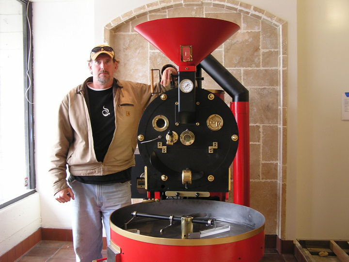 Catahoula owner Timber Manhart, with his coffee roaster in Richmond. Photo: Catahoula