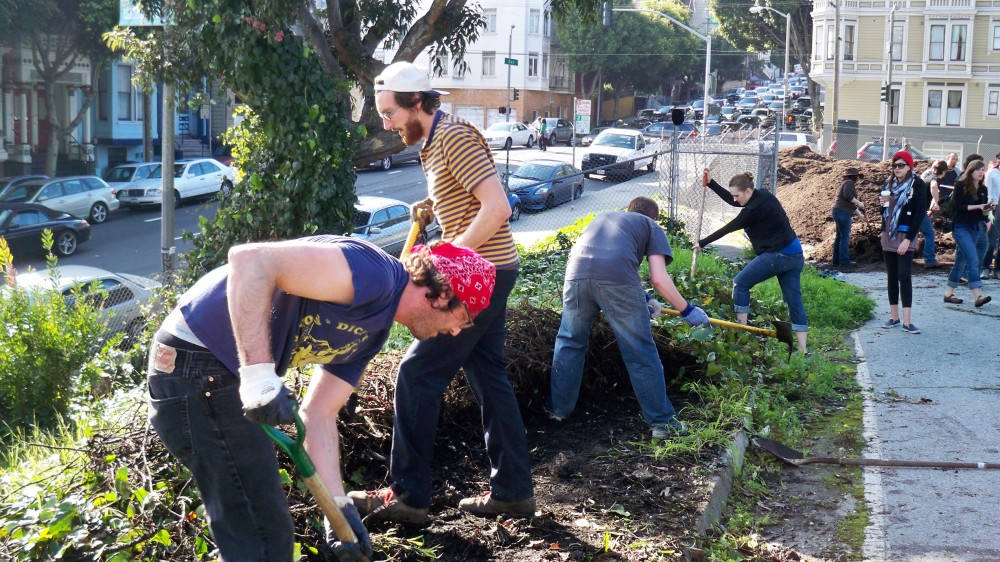 Urban farmers turning a vacant lot into a garden plot in San Francisco's Hayes Valley. Photo: Chris Martin/Flickr