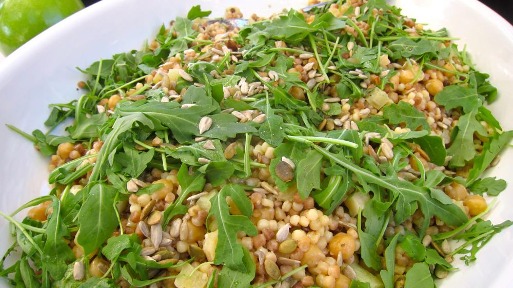 Fregola and Chickpeas, Arugula, Apples, Sunflower and Pepitas