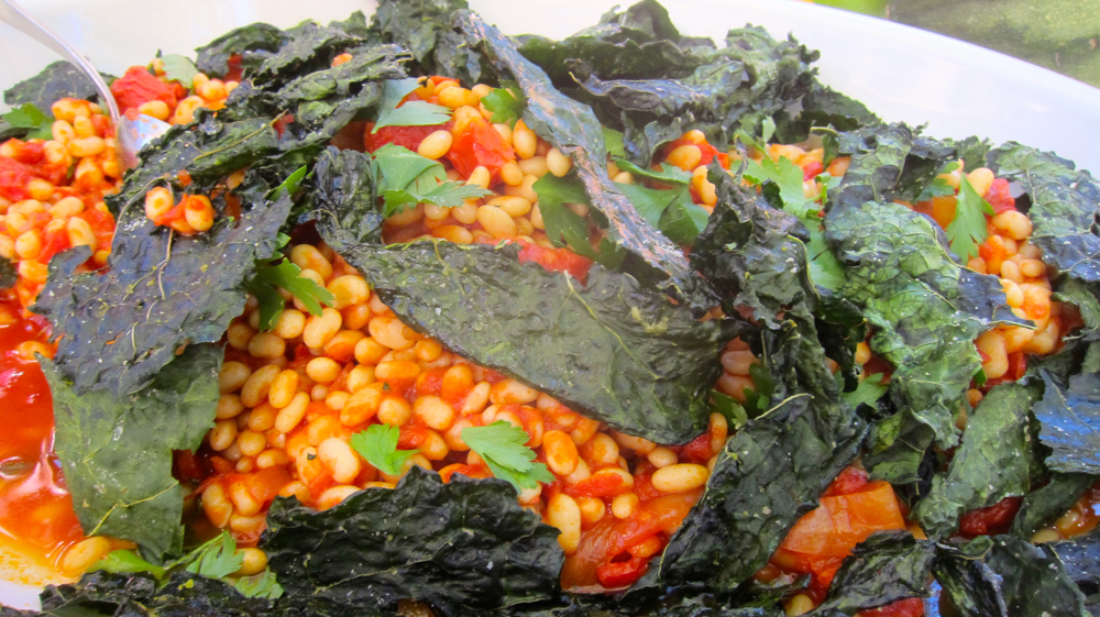 Coco Beans with Tomato Conserva, Crispy Kale and Herbs