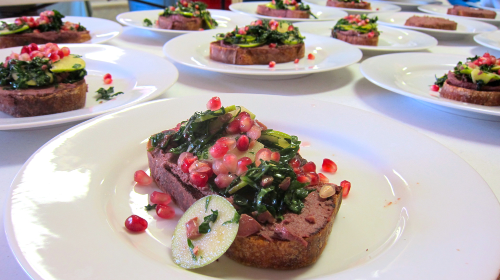 Chicken Liver Bruschetta, Shaved Brussels Sprouts and Pomegranate Seeds with Giblet Vinaigrette