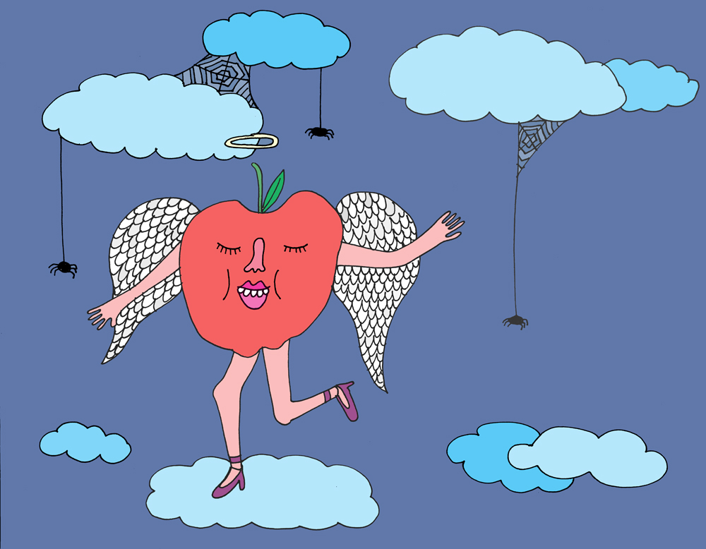 Myth: Apples played an innocent role in Halloweens gone-by. Illustration by Lila Volkas