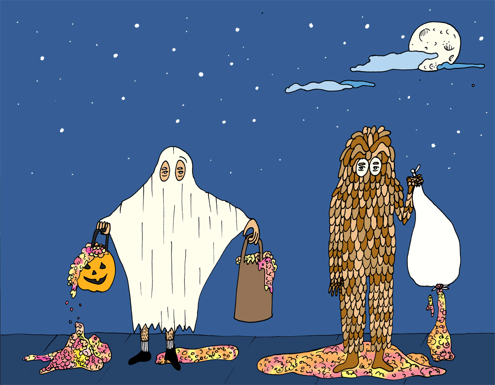 Myth: Halloween has always been synonymous with mass quantities of candy. Illustration by Lila Volkas