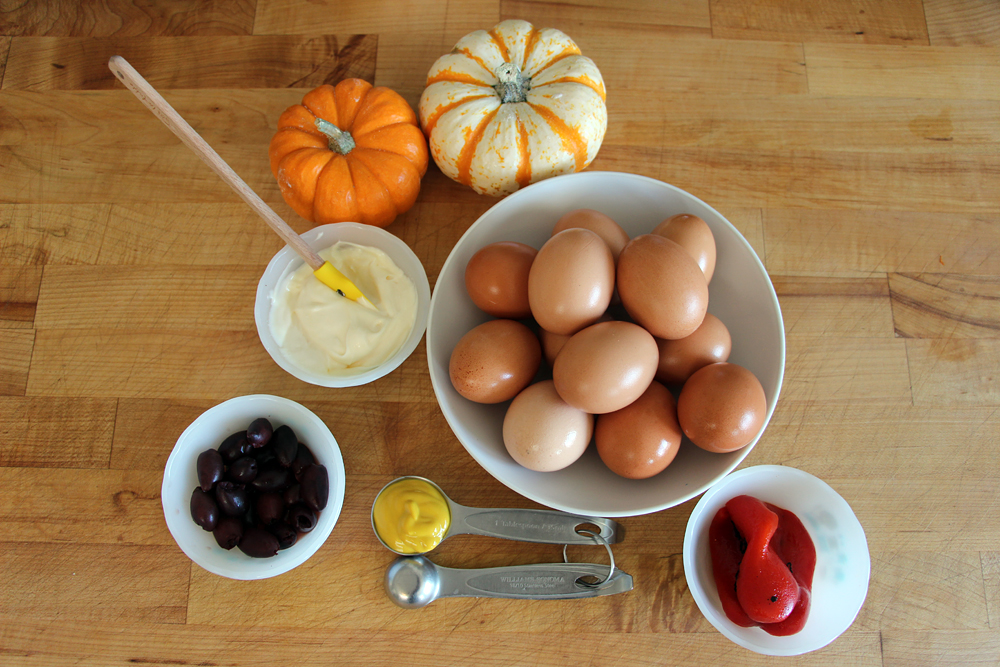 Ingredients for Devilish Egg Eyeballs & Spiders. Photo: Wendy Goodfriend
