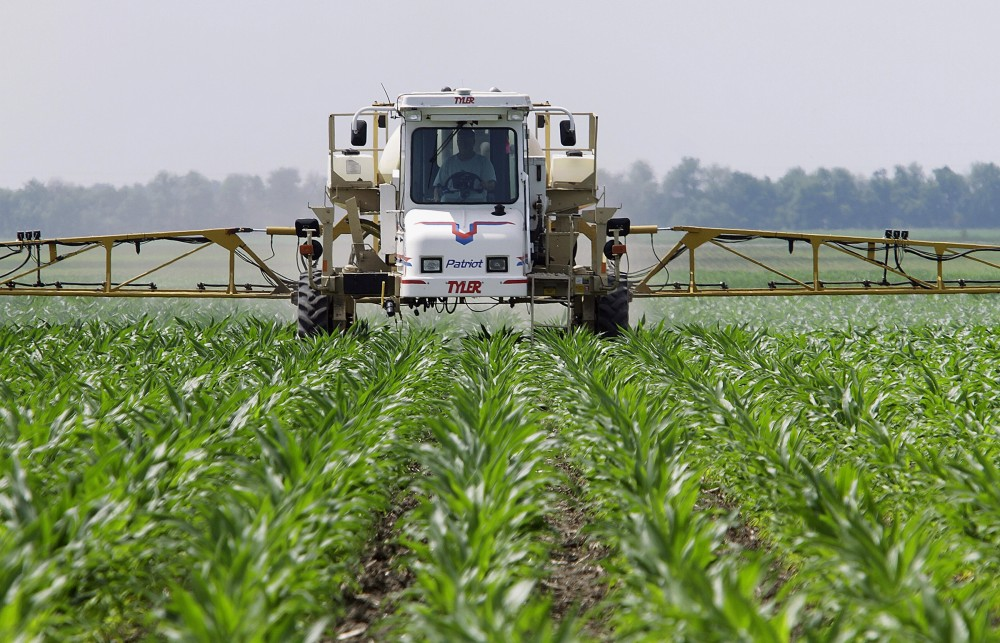Corn farmer Jerry McCulley sprays the weedkiller glyphosate across his cornfield in Auburn, Ill., in 2010. An increasing number of weeds have now evolved resistance to the chemical. Photo: Seth Perlman/AP