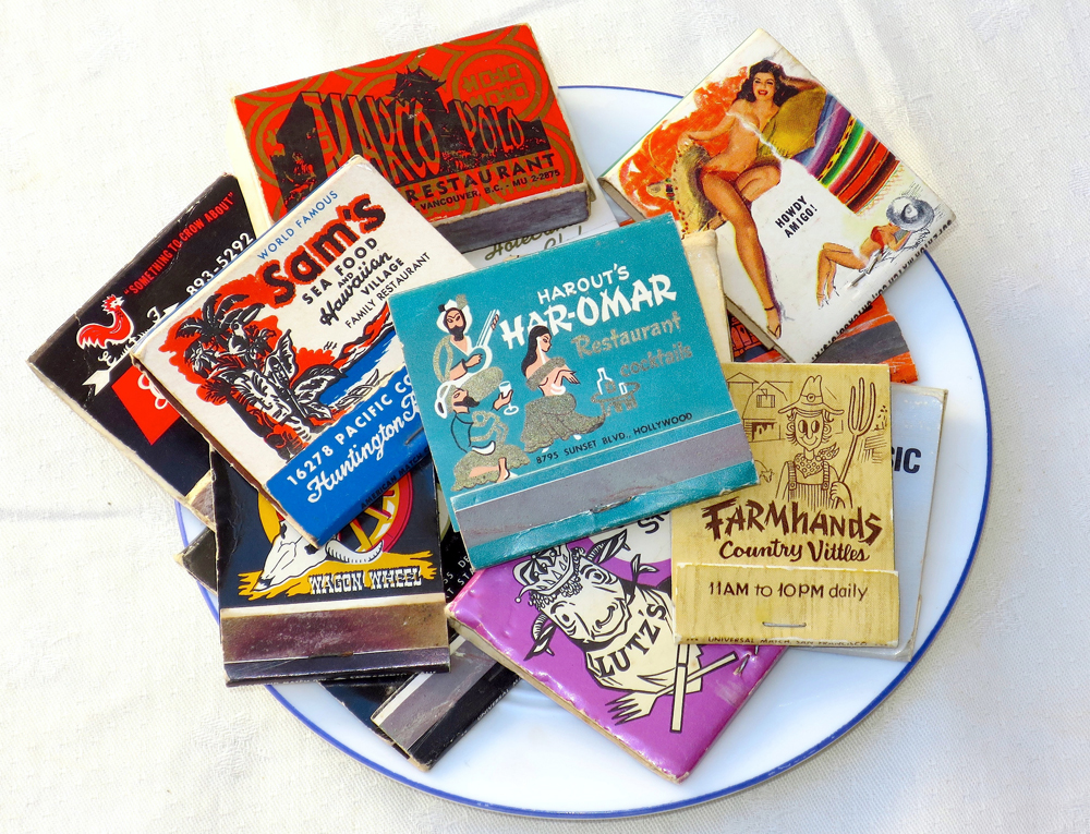 Vintage theme-restaurant matchbooks. Photo: Kristan Lawson