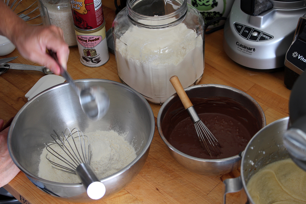In a bowl, whisk together the cocoa and boiling water until smooth. Whisk in the buttermilk. In another bowl, sift together the flour, and baking soda.  Photo: Wendy Goodfriend