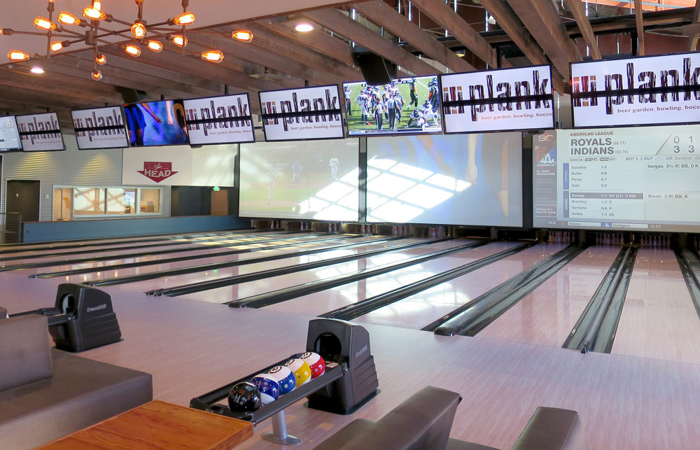 Bowling lanes and mega-TVs at plank. Photo: Kristan Lawson.