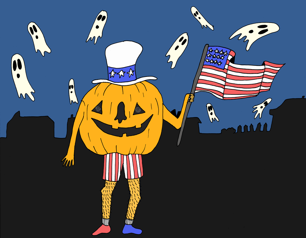 Myth: Jolly Jack o' Lanterns are as American as apple pie. Illustration by Lila Volkas