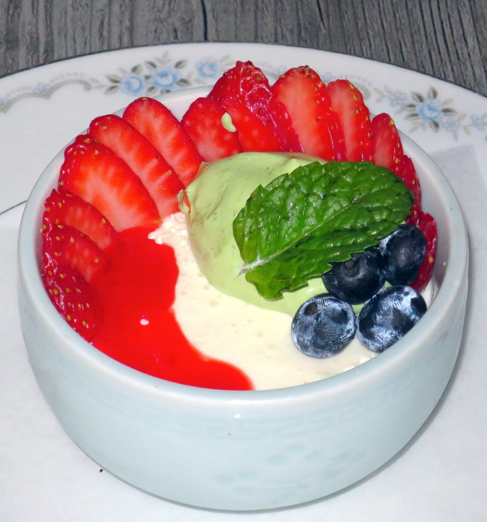 Yuzu panna cotta with strawberries and matcha foam at Joshu-Ya Brasserie. Photograph by Kristan Lawson