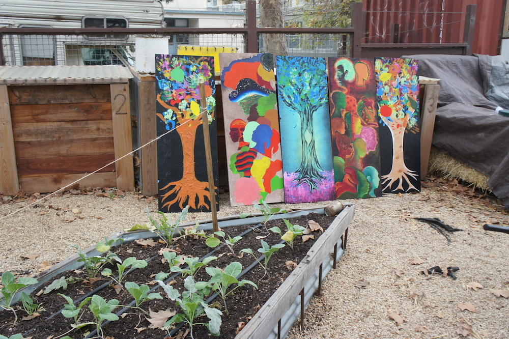 Murals painted by the community in response to recent vandalism at the farm. Photo: Angela Johnston