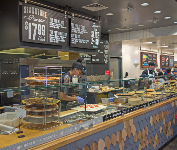 The pizza bar at the newly opened Whole Foods in West Berkeley. Photo: Neil Mishalov