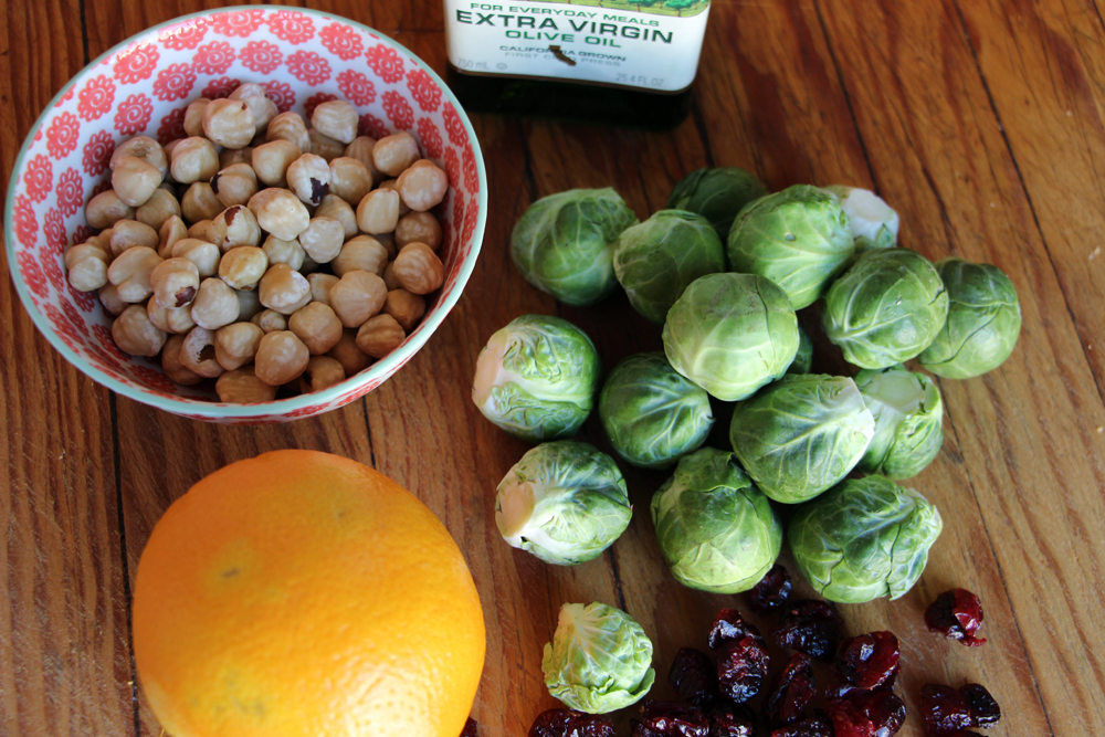 Ingredients for Roasted Brussels Sprouts with Dried Cranberries, Toasted Hazelnuts, and Orange Zest. Photo: Wendy Goodfriend