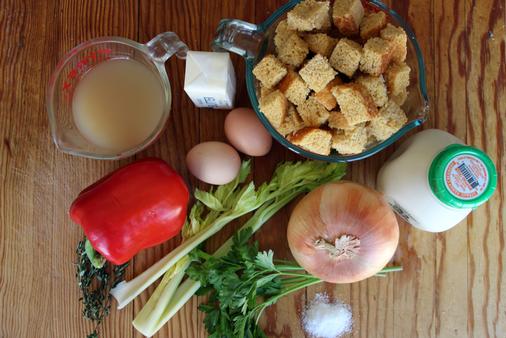 Gluten-Free Cornbread and Red Pepper Stuffing ingredients. Photo: Wendy Goodfriend