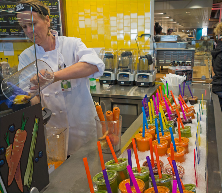 The fresh juice bar at the new Whole Foods on opening day. Photo: Neil Mishalov