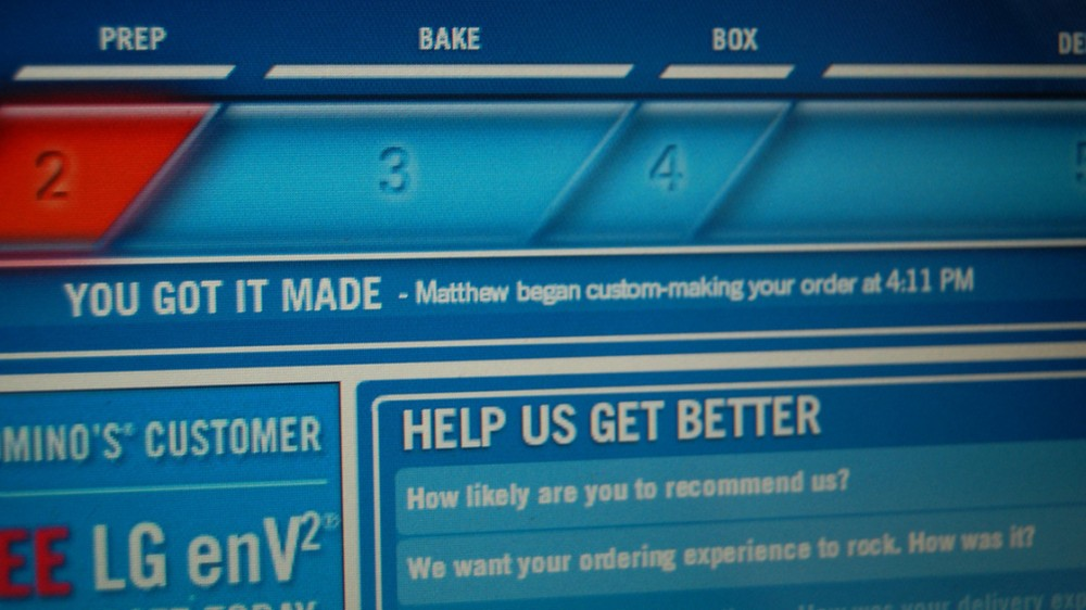 A close-up look at the Domino's Pizza Tracker, which updates customers on their pizza's status in real time.  Photo: Flickr