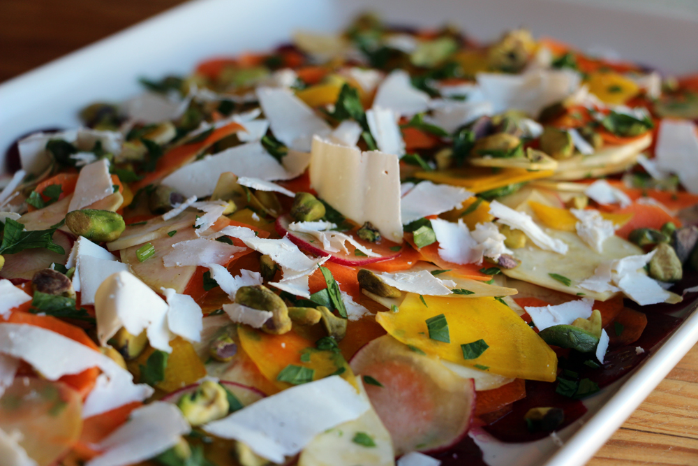 Shaved Carrot, Beet, and Celery Root Salad with Pistachios and Ricotta Salata. Photo: Wendy Goodfriend