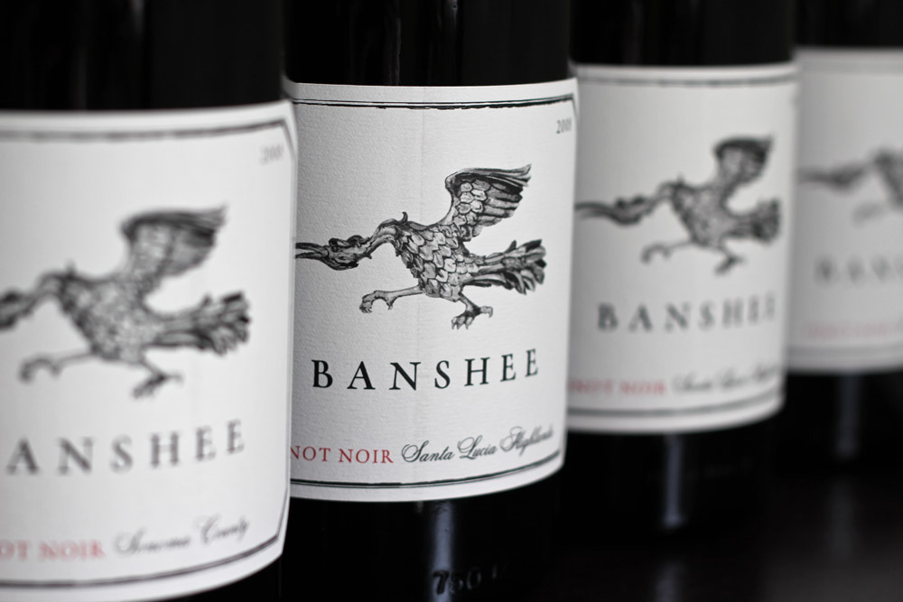 The eye-grabbing Banshee label was named after one of the founder's dogs, who likes to run around in crazy circles. Photo: Banshee Wines