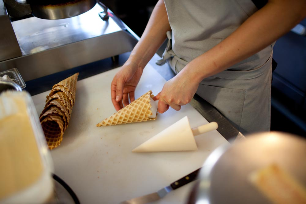 Not only does the Penny Ice Creamery make its own custard base but the cones are individually hand rolled and baked on site. Photo: Molly Watson