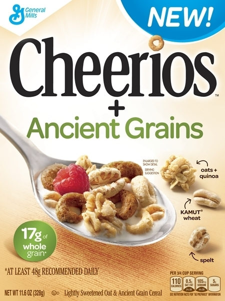 The new box of Cheerios + Ancient grains cereal. Image: General Mills