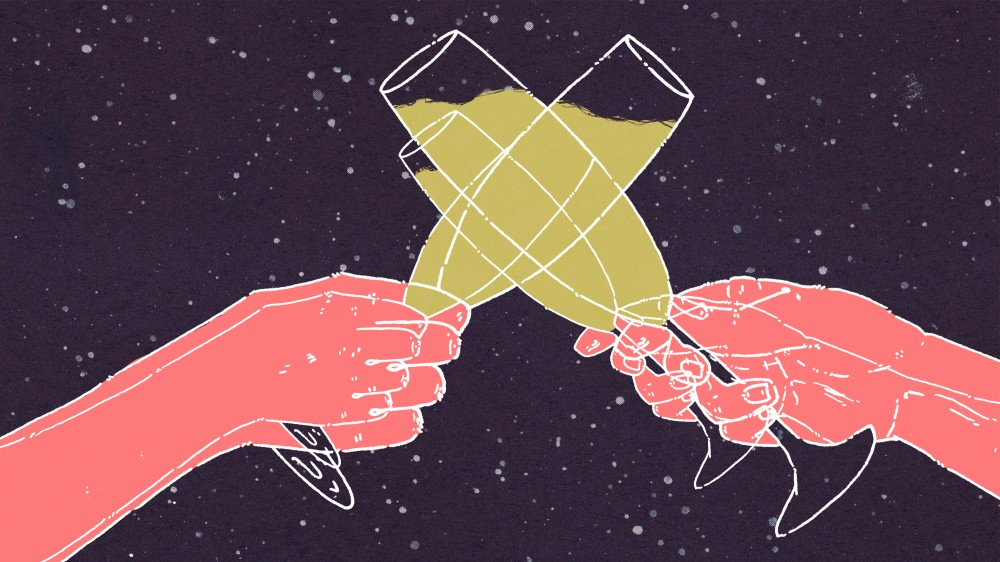 Seeing double after toasting? Just wait for the hangover that's coming, thanks in part to those bubbles in sparkling wine. Image: Chris Nickels for NPR
